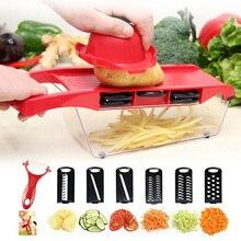 6 in 1 Vegetable Slicer & Cutter with Steel Blade Mandoline Slicer Potato Peeler Carrot Grater Dicer Kitchen Accessories F