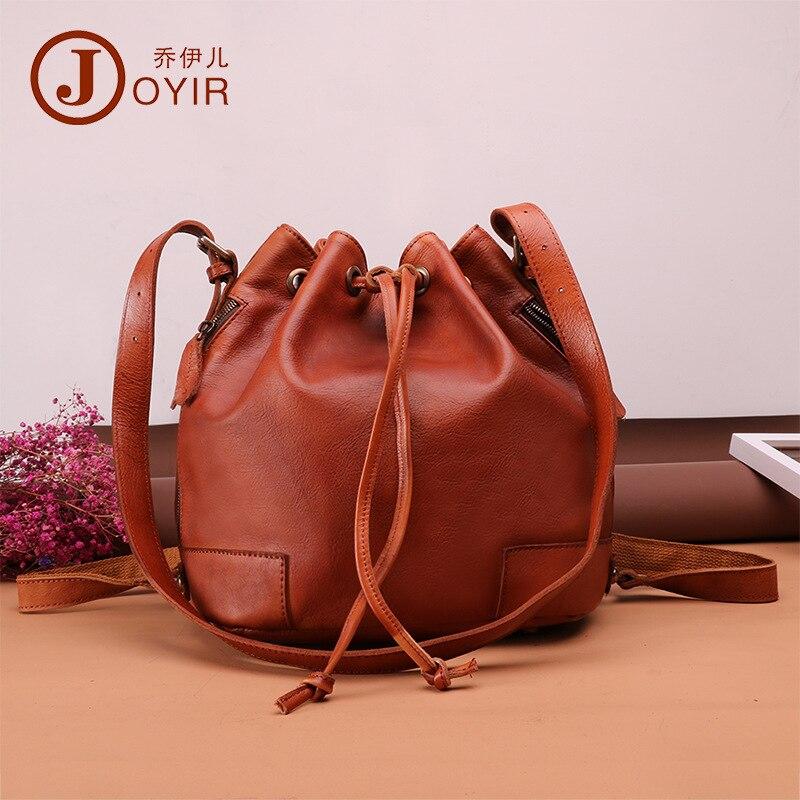 Joyir винтажная модная женская сумка ведро из натуральной кожи сумка с кисточками сумка на шнурке sac основная многофункциональная сумка мессе
