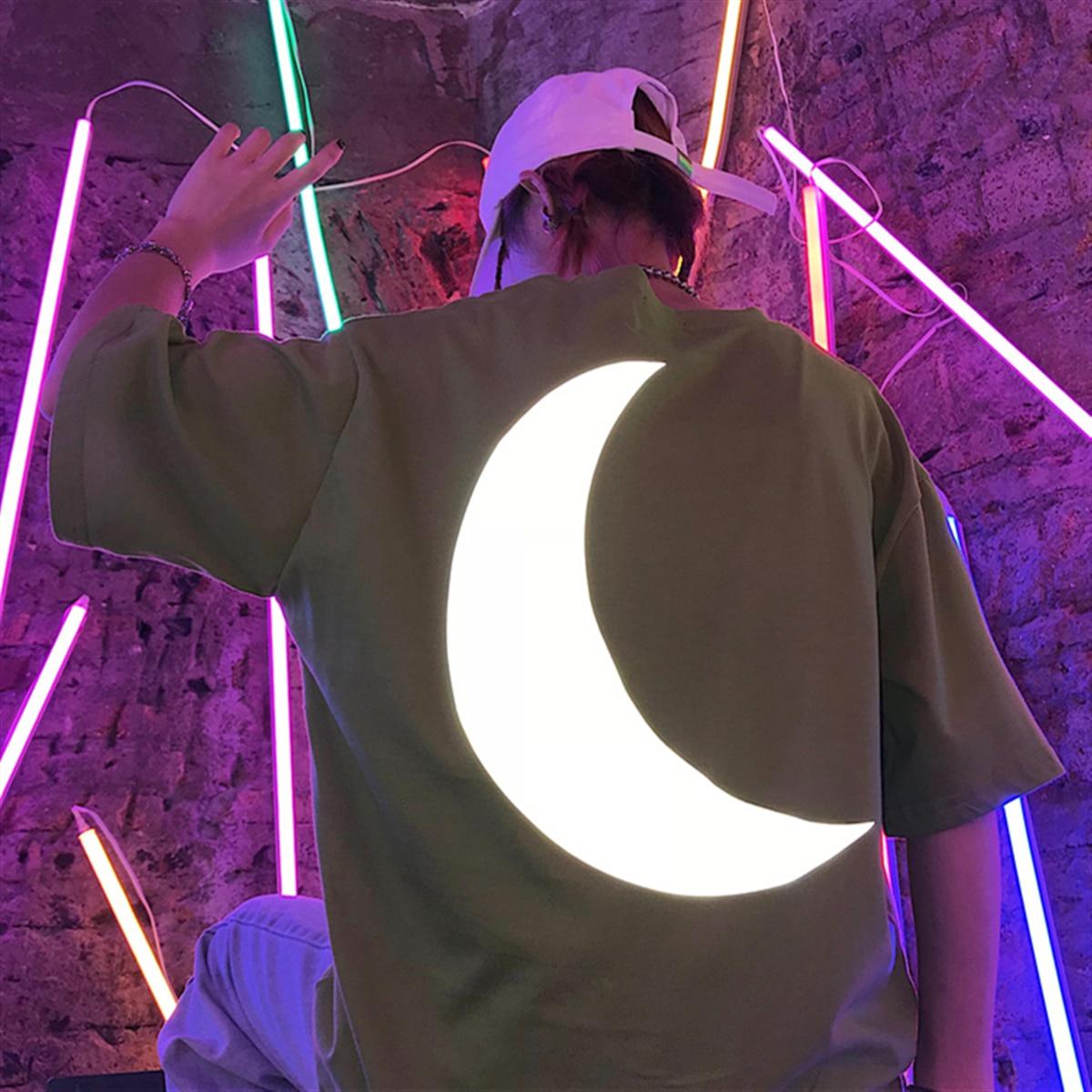 Harajuku Street Style OverSize Reflective T Shirt Men Big Moon Streetwear Cotton Shirt Men Unisex Chic Ulzzang Kpop Hip Hop