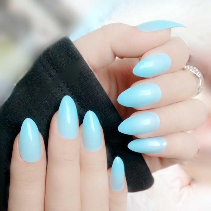 24 sztuk zaokrąglone szpilki długie fałszywe paznokcie jasne różowy Nude Sharp sztuczne paznokcie sztuczne akrylowe naturalne pełna naciśnij na tipsy