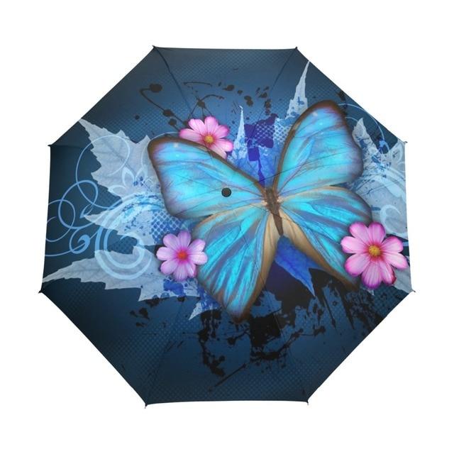 New Fashion Butterfly Over Flowers Print Women's Automatic Umbrella 3 Folding Rain Sun Protection Umbrella Male Portable Parasol 1