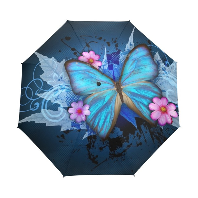 10443796b Butterfly over Flowers Women's Umbrella Oil Painting 3 Folding Parasol  Fashion Lady Portable Girl Childrend Umbrella Gift