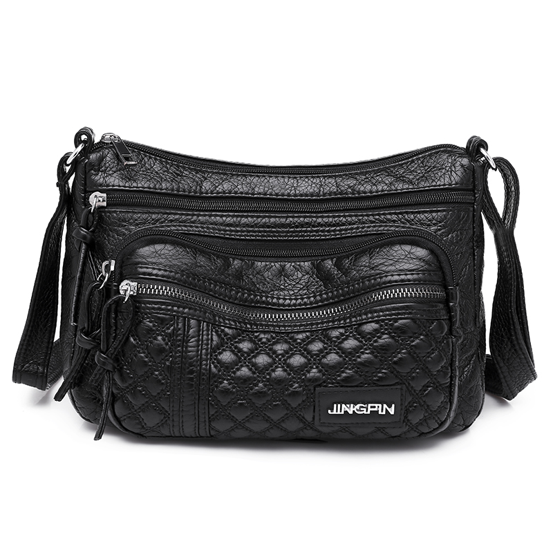 Black Hobos Soft Pu Leather Shoulder Bag for Women Contracted Joker Crossbody More Zippers Messgenger Leisure