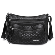 Black Hobos Soft Pu Leather Shoulder Bag for Women Contracted Joker Crossbody More Zippers Messgenger Leisure