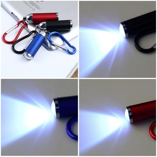 1pc Mini Convex Mirror LED Flashlight Torch clip camp key chain Carabiner no battery new arrival