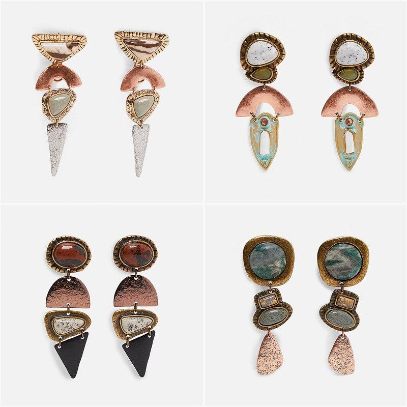 JURAN Za 2019 New Fashion Metal Maxi Vintage Drop Dangle Earrings For Women Trendy Pendant Earring Wholesale Wedding Jewelry