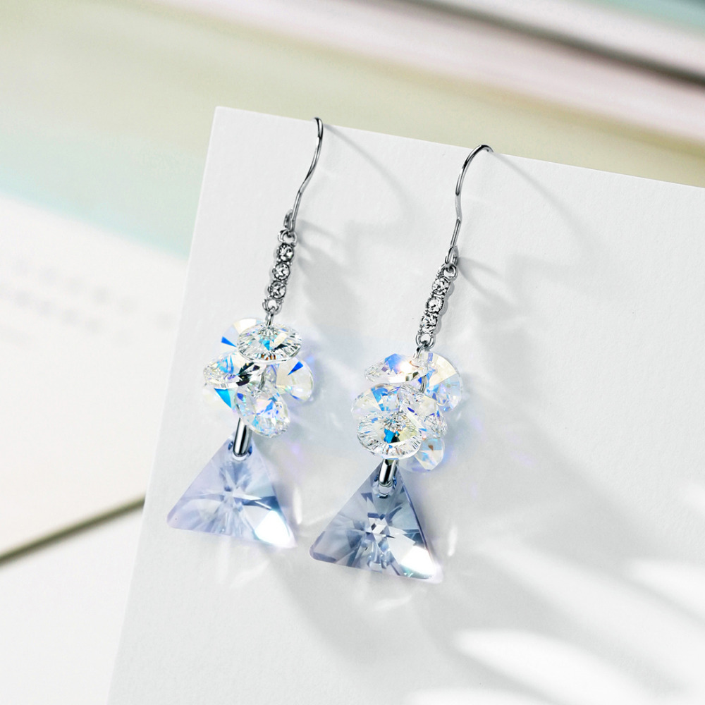 Neoglory Crystal   Rhinestone Long Dangle Earrings Classic Blue Triangle  Design Elegant Embellished With Crystals From Swarovski-in Drop Earrings  from ... 7214cc1b0324