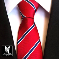 Brand New Fashion 8cm Design Ties Formal Red With Blue Striped Neck Tie Classic Jacquard Woven