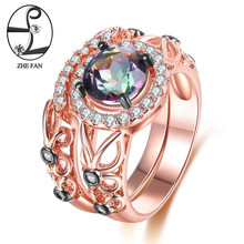 ZHE FAN Rainbow Synthetic Quartz 2 Rings Set Luxury Black Rose Gold Color Tone Plate Jewelry For Women Mother's Day Gifts