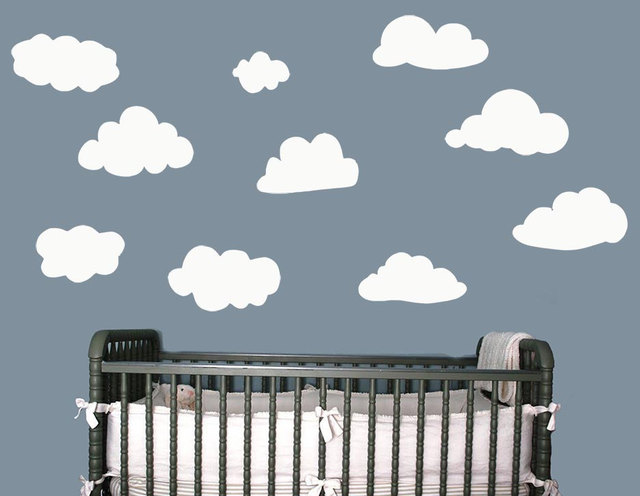 big white clouds wall stickers for kids rooms girls boys living room