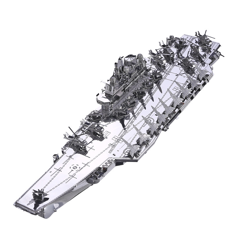 Piececool Plan Liaoning Cv-16 Flygplan-Carrier DIY 3d Metal Nano Puzzle Montering Model Kit P056-S Laser Cut Jigsaw Toys