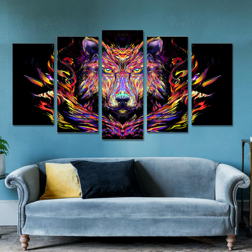 Unframed 5 HD Canvas Prints Anime Lion Giclee Modular Picture Prints Wall Pictures For Living Room Wall Art Decoration