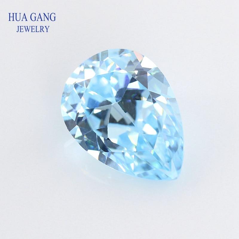 Forma de pêra luz seablue aaaaa zircônia cúbica sintética cz pedra gemas tamanho 2x3-15x20mm contas para fazer jóias frete grátis