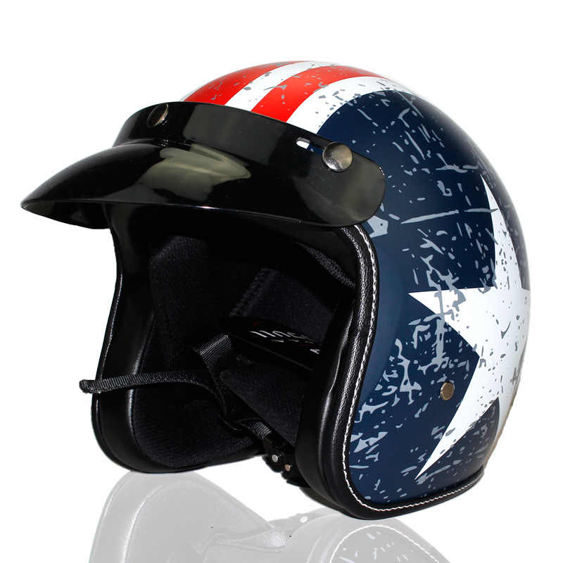 Nowy kask motocyklowy Retro Vintage syntetyczna skóra otwarty kask motocykl skuter Cruiser Chopper Casco kask moto DOT