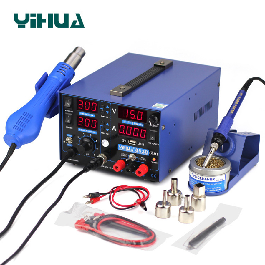 YIHUA 853D 3A USB Soldering Station Hot Air Gun 3 In 1 SMD DC Power Supply