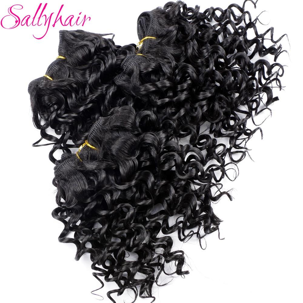 Sallyhair Afro Kinky Curly Crochet Hårväv Svart Färg Hög Temperaturväft Syntetisk Hårförlängning 3pc / lot Hårväv