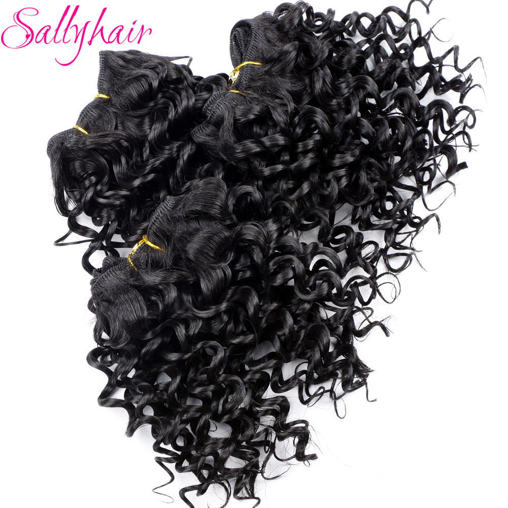 Sallyhair Afro Kinky Σγουρά μαλλιά πλέκουν μαλλιά Μαύρο χρώμα Υψηλής θερμοκρασίας υφάδι συνθετικές τρίχες επεκτάσεις 3pc / παρτίδα μαλλιά Weavings