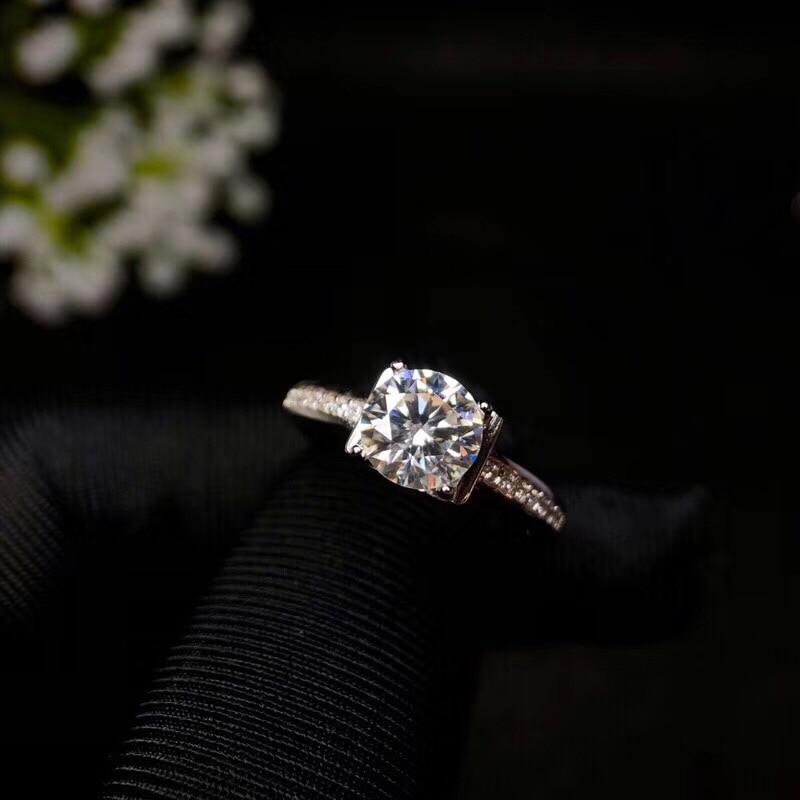 Mossanita, diseño de moda de plata 925, color de fuego fuerte, diamante, alta dureza 1.2ct - 3