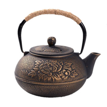 900ML Japanese Cast Iron Pot Uncoated Iron Teapot Southern Japan Peony Big Kettle Drinkware Kung Fu Infusers Metal Net Filter