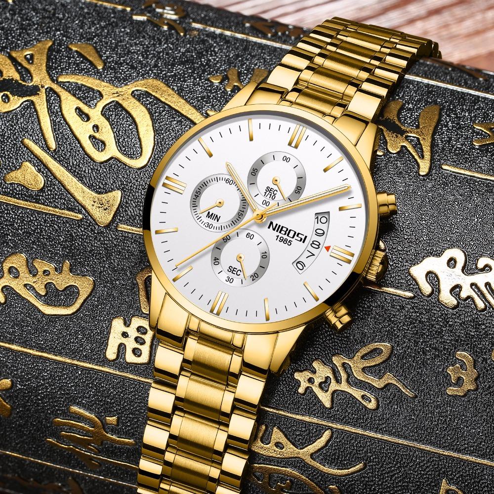 Relojes de hombre NIBOSI Relogio Masculino, relojes de pulsera de cuarzo de estilo informal de marca famosa de lujo para hombre, relojes de pulsera Saat 36