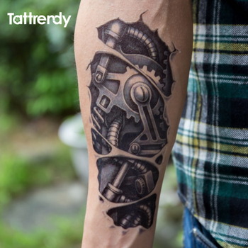 Temporary tattoos 3D black Robot mechanical arm fake transfer tattoo stickers hot sexy cool men spray waterproof designs C058 1