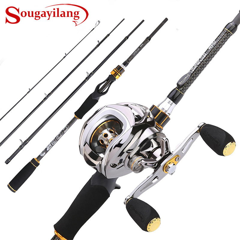 Sougayilang Baitcast Rod Reel Combo Portable 4 Section M Power Casting Fishing Pole With 11+1BB Baitcasting Fishing Reel Kit(China)