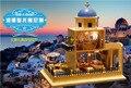 Santorini Island DIY Doll house 3D Miniature Wooden assembled+Music box+LED light+Handmade kits Building model Children toy gift