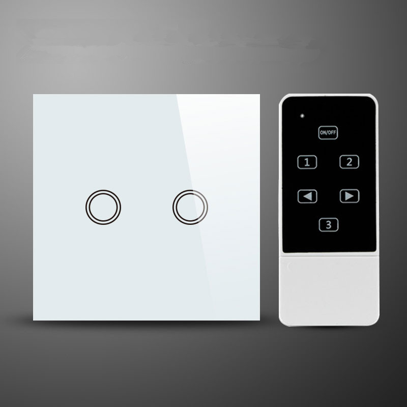 EU/ UK Standard 2 gang 1 way  wall switch and White Crystal Glass Panel touch swich ,Wireless Remote Home light Switch funry eu uk standard 1 gang 1 way led light wall switch crystal glass panel touch switch wireless remote control light switches