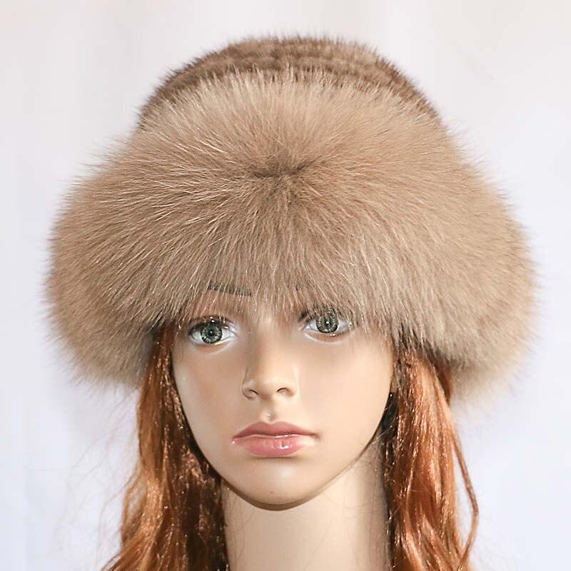 Réel vison fourrure femme chapeau renard fourrure beanie casquettes hiver femme chapeaux mode vison fourrure tricot chapeau - 2