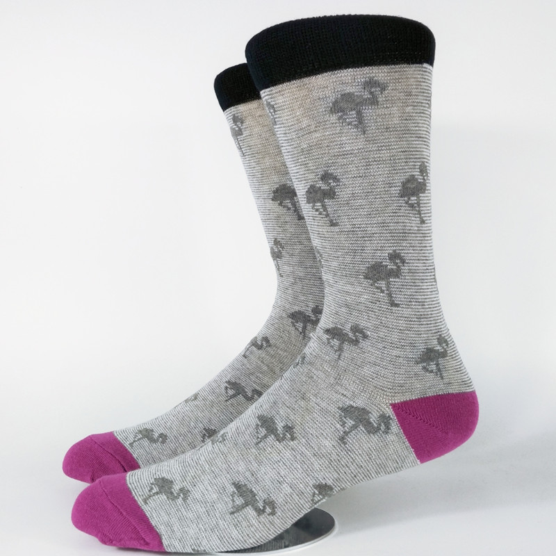 Mens Flamingo Casual Dress Socks USA Size 9-11,Euro Size 42-44