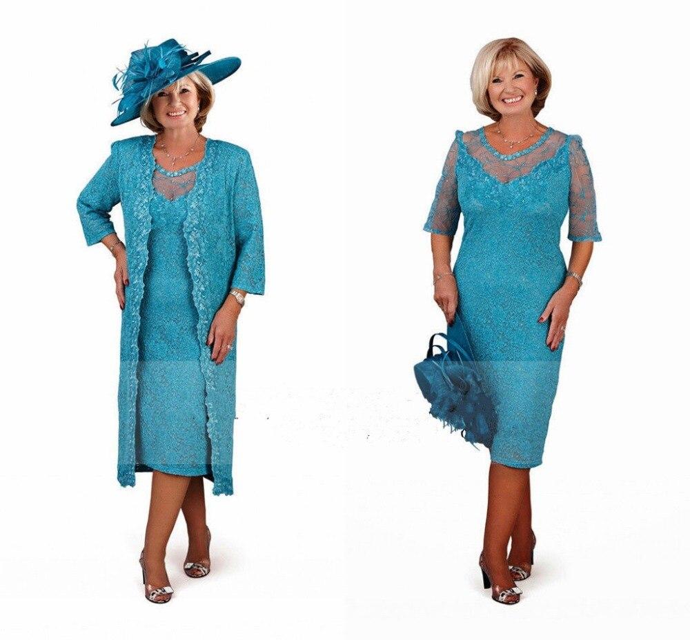 Encajes madre de la novia trajes con abrigo largo más el tamaño ...