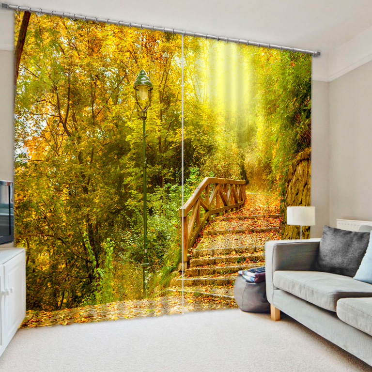 Jungle bridge the digital photo 3d emulation print shade fabric curtains finished