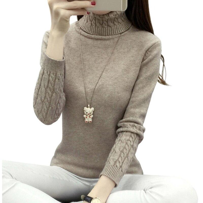 Grueso cálido mujeres jersey de cuello alto de invierno de 2018 mujeres suéteres y Pullovers de punto de manga larga de Cachemira suéter Jersey Tops RE0973