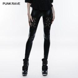 PUNK RAVE Frauen Gothic Hosen Mode Leder Leggings Schwarz Stickerei Sexy Leggings Winter Casual Streetwear Bleistift Hosen