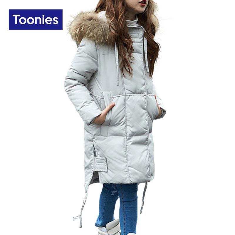 ФОТО Toonies New Girl's Children White Duck Down Coat Korean Long Fur Collar Warm Winter Thicken 2017 Fashion Coats Kids Clothing