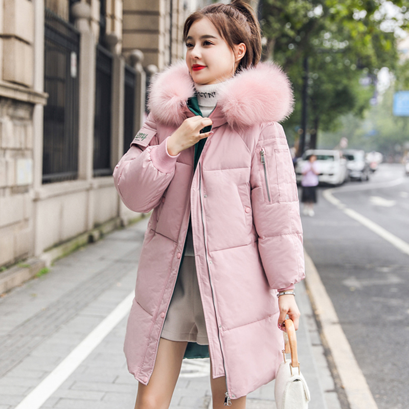 FMFSSOM Autumn Winter Zipper Women Cotton Coat Casual Hooded Padded Warm Large Size 3XL Loose Parka Fur Collar Female(China)