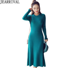 2017 New Fashion Knitted Winter Dress Women Casual Long Sleeve O Neck A Line Solid Color