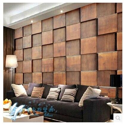 Bloco de madeira criativo europeu sala papel de parede - Papel pared 3d ...