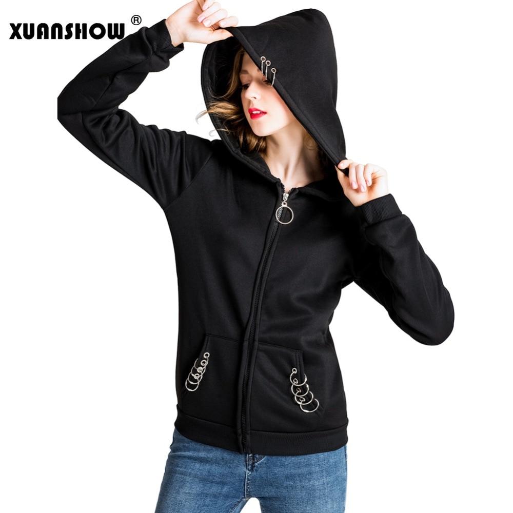 XUANSHOW 2018 Women 39 s Hoodies Sweatshirt Long Sleeve Fashion Big Hat Harajiku Punk Female Coat Iron Ring Casual Sudadera S 5XL in Hoodies amp Sweatshirts from Women 39 s Clothing