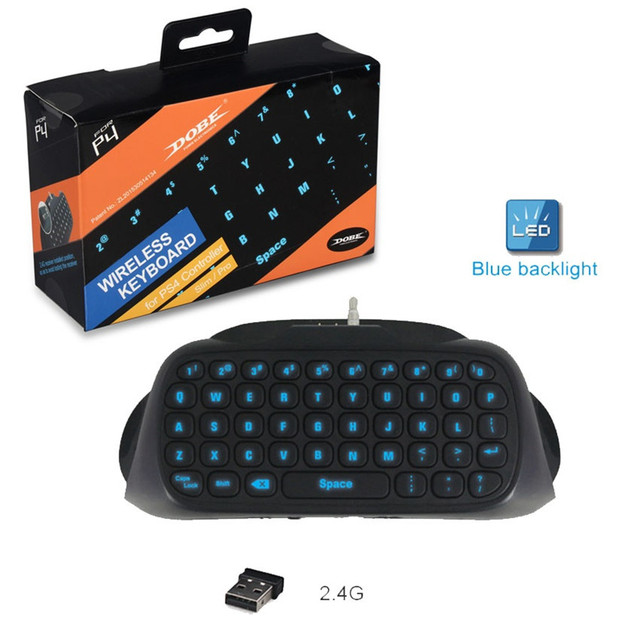 US $16 62 12% OFF|DOBE Wireless Mini Keyboard For Playstation 4 Gamepad  Messager Chatpad Blue Backlight for PS4 / PS4 Slim / PS4 Pro Controller-in