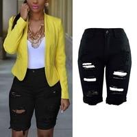 Summer Slim Jean Pencil Trousers Women Knee Length Demin Pants Black White Blue