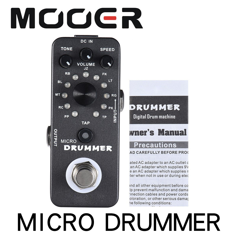 MOOER MICRO DRUMMER Guitar Pedal Digital Drum Machine Guitar Effect Pedal With Tap Tempo Function True Bypass Full Metal ShellMOOER MICRO DRUMMER Guitar Pedal Digital Drum Machine Guitar Effect Pedal With Tap Tempo Function True Bypass Full Metal Shell