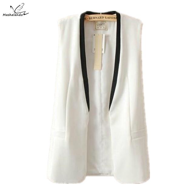 Летний Новый 2016 Мода Марка Женской Одежды Лоскутная V-образным Вырезом С Длинным Жилет Пальто Женщин Blazer Жилеты Colete