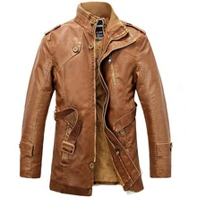 Winter PU Leather Jacket men long wool leather Standing Collar Jackets Coat Trench parka mens leather jackets and coats