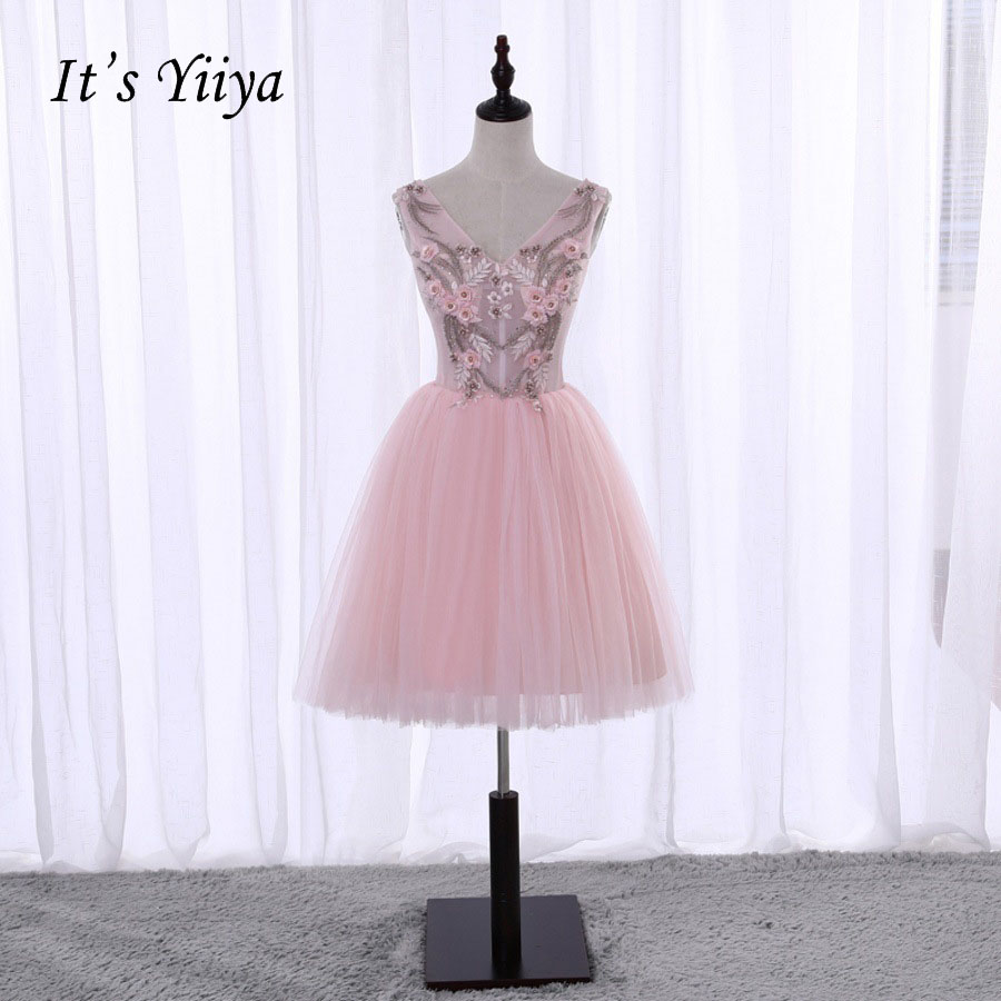 It's YiiYa Sexy Backless Pink V-neck Sleeveless Lace Up Appliques Tulle   Cocktail     Dress   Knee Length Formal   Dress   Party Gown X071