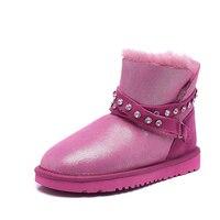 RUIYEE ladies slide snow boots sheepskin wool one piece boots waterproof boots warm non slip wear resistant snow boots