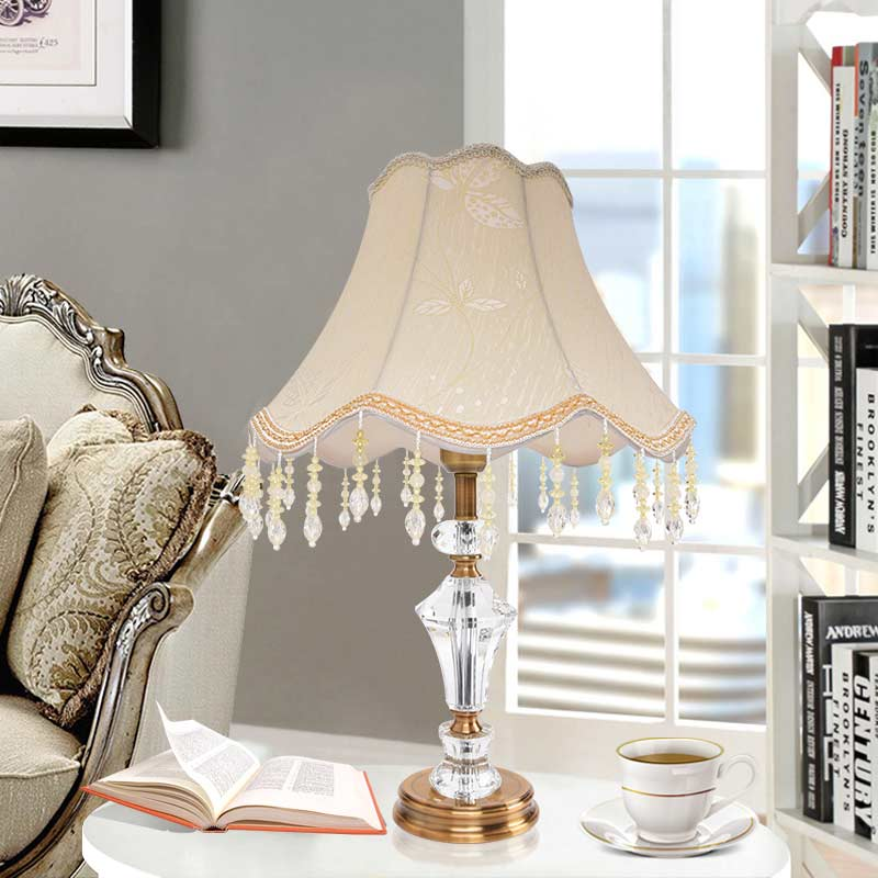 Modern Crystal Table Lamp Shade Fabric Office Living Room Bedroom Bedside Lights Lighting Antique Brass Iron