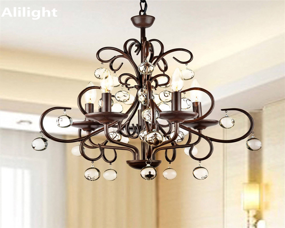 Lighting Fixtures Us 199 99 Elegant Luxury Vintage Crystal Chandelier Lighting Fixtures Retro Metal Fancy Lamp For Restaurant Dining Living Room Decor Light In