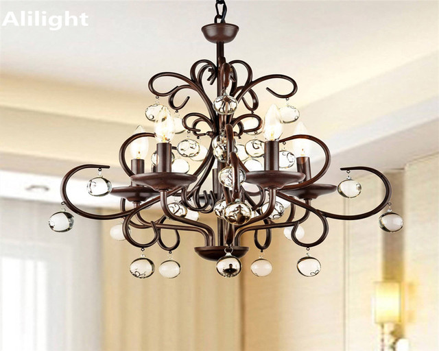 Elegant Luxury Vintage Crystal Chandelier Lighting Fixtures Retro Metal  Fancy Lamp For Restaurant Dining Living Room