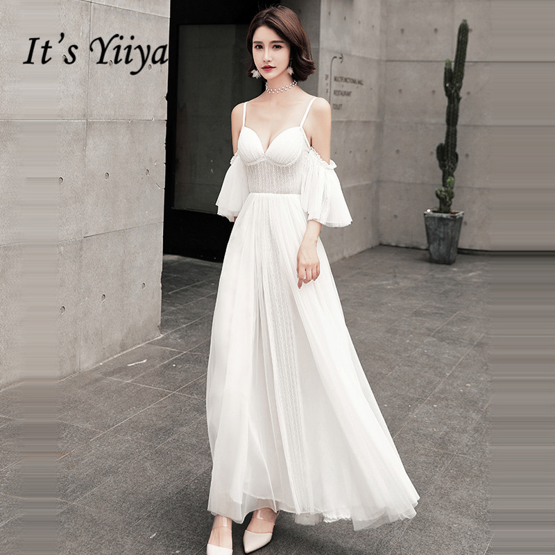 It's YiiYa   Evening     Dress   Strapless Off The shoulder Sexy White Formal   Dress   Short Sleeve Lace Up Ankle Length Party Gowns G050